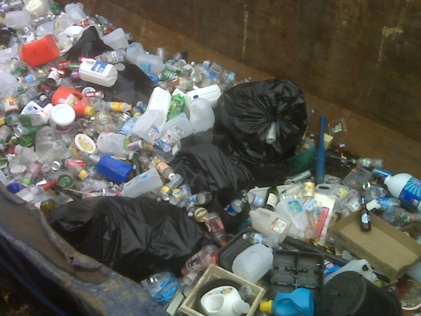 Did the sign say, place all recycling in a bag?