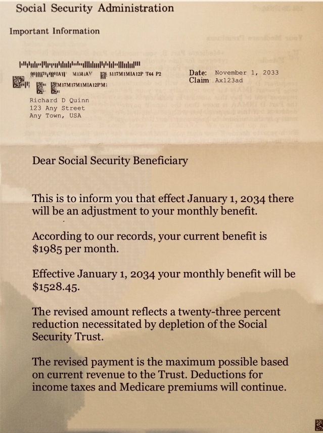 Social Security Letter Of Benefits.An Important Letter From Social Security To You